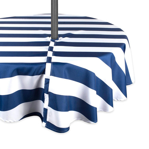 """60"""" Blue and White Striped Round Outdoor Tablecloth With Zipper - IMAGE 1"""