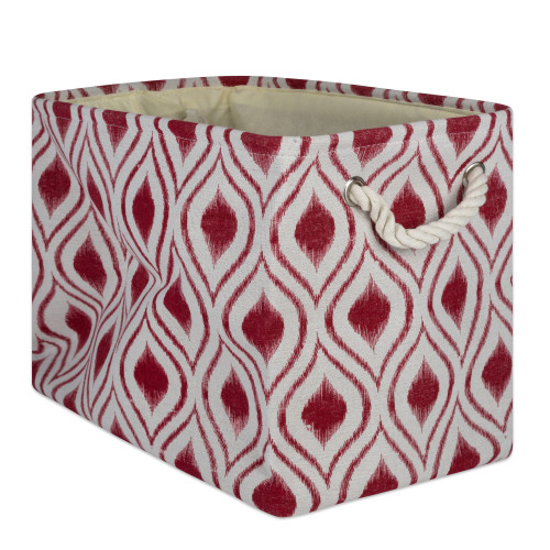 """18"""" Red and White Ogee Design Rectangular Large Bin - IMAGE 1"""