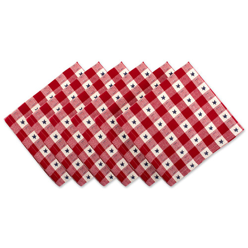 """Set of 6 Red and White Star Checkered Square Over-Sized Napkins 20"""" - IMAGE 1"""