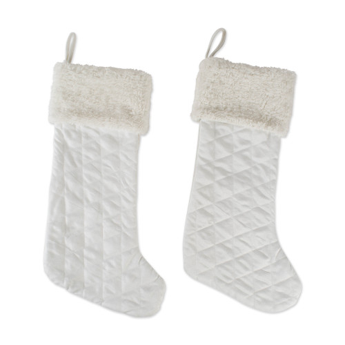 """Pack of 2 White Diamond Quilted Stockings with Fur Cuff 23.2"""" - IMAGE 1"""