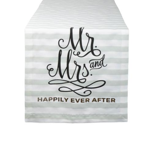 """72"""" Black and White """"Mr. & Mrs."""" Printed Rectangular Table Runner - IMAGE 1"""