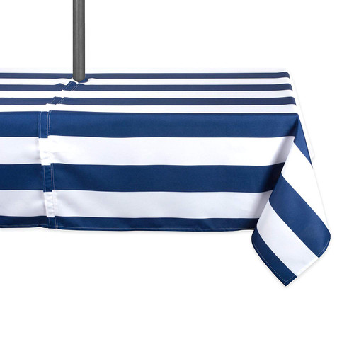 """84"""" Blue and White Striped Rectangular Outdoor Tablecloth with Zipper - IMAGE 1"""