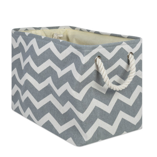 """18"""" Gray and White Chevron Rectangular Large Bin with Rope Handle - IMAGE 1"""