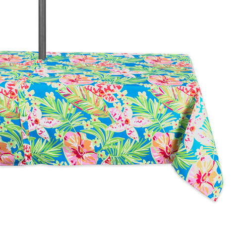 """84"""" Green and Pink Floral Rectangular Outdoor Tablecloth with Zipper - IMAGE 1"""