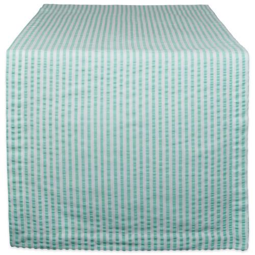 "72"" Aqua Blue and White Seersucker Striped Rectangular Table Runner - IMAGE 1"