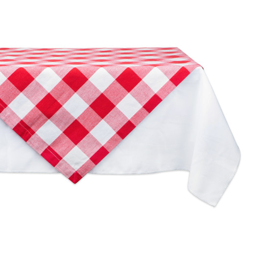 """40"""" Red and White Buffalo Checkered Square Tablecloth - IMAGE 1"""