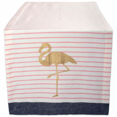 "108"" White and Gold Flamingo Striped Rectangular Table Runner - IMAGE 1"
