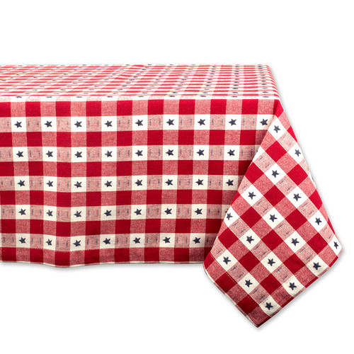 "84"" Red and White Star Checkered Rectangular Outdoor Tablecloth - IMAGE 1"
