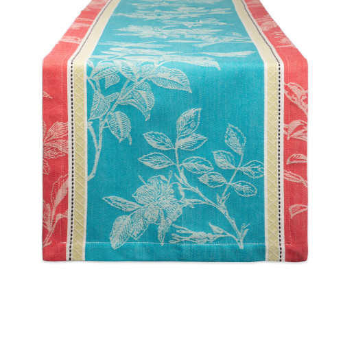 "72"" Sky Blue and Red Rectangular Table Runner with Mitered Corners - IMAGE 1"