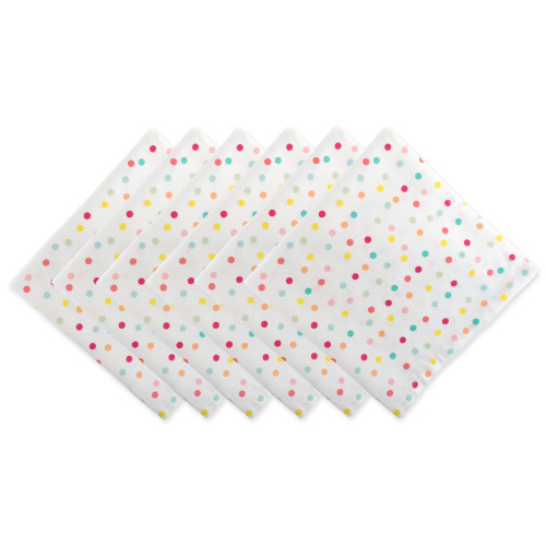 """Set of 6 Red and White Polka Dots Printed Square Napkins 20"""" - IMAGE 1"""