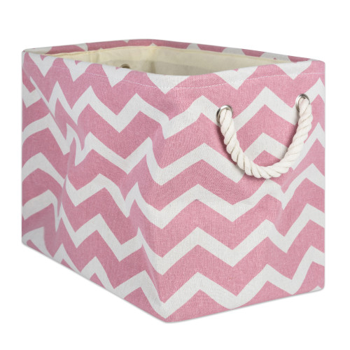 """18"""" Pink and White Chevron Rectangular Large Bin with Rope Handle - IMAGE 1"""