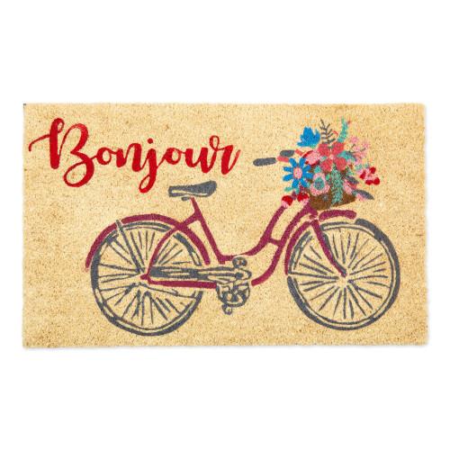 """Beige and Red Bonjour Bike Rectangular Doormat 18"""" x 30"""" - IMAGE 1"""