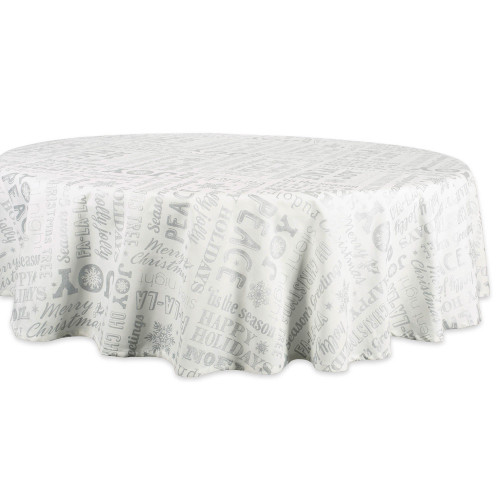 """70"""" Chiffon White and Gray Holiday Icons Printed Round Tablecloth - IMAGE 1"""