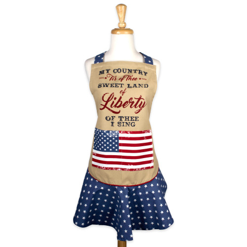 """29.5"""" Beige American Flag """"Sweet Liberty"""" Striped Chef Apron - IMAGE 1"""