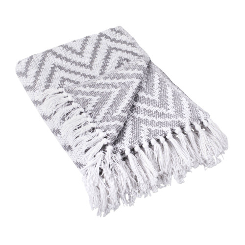 """60"""" Gray and White Chevron Large Rectangular Throw with Fringes - IMAGE 1"""