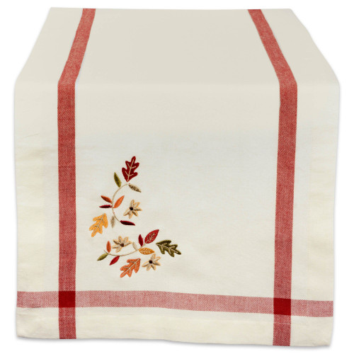 """72"""" Red and Green Embroidered Fall Leaves Table Runner with Border - IMAGE 1"""