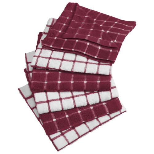 "Set of 6 Wine Combo Windowpane Christmas Dishcloths 6"" - IMAGE 1"