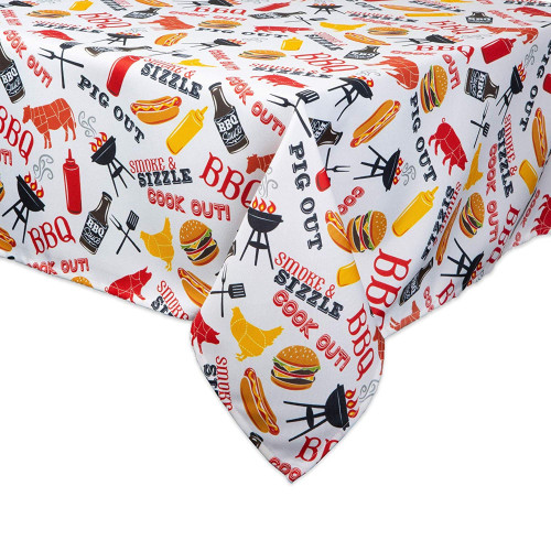 "120"" White and Yellow Barbeque Themed Rectangular Outdoor Tablecloth with Zipping - IMAGE 1"