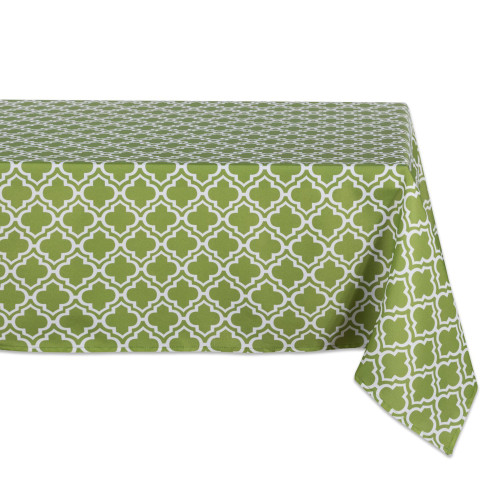 "84"" Green and White Lattice Outdoor Rectangular Tablecloth - IMAGE 1"
