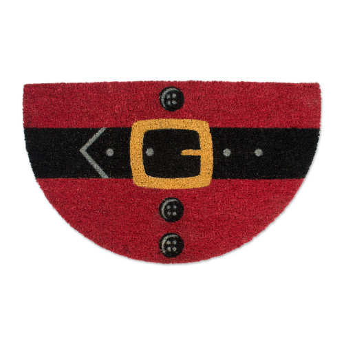 "Red and Black Curved Santa Belly Shape Doormat 18"" x 30"" - IMAGE 1"
