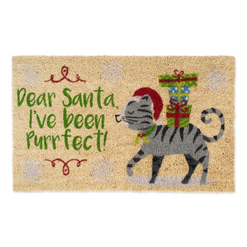 """Beige and Gray Christmas Rectangular Doormat 18"""" x 30"""" - IMAGE 1"""