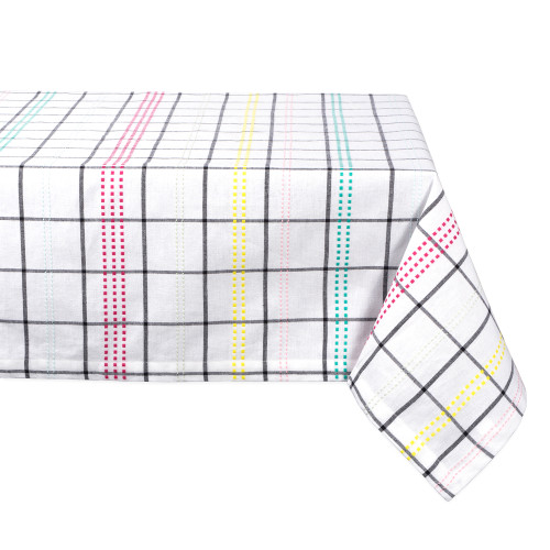 "84"" Daisy White and Black Checkered Rectangular Tablecloth - IMAGE 1"
