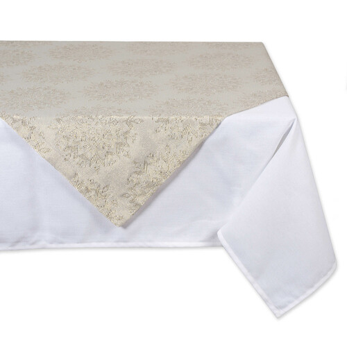 "40"" Ivory Winter Sparkle Jacquard Designed Square Table Topper - IMAGE 1"
