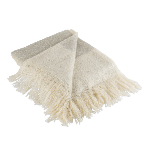"""Gray and Beige Vintage Fringed Throw Blanket 50"""" x 60"""" - IMAGE 1"""
