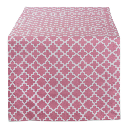 """72"""" Pink and White Moroccan Rectangular Table Runner - IMAGE 1"""