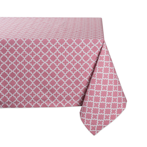 """84"""" Pale Pink and White Lattice Rectangular Tablecloth - IMAGE 1"""