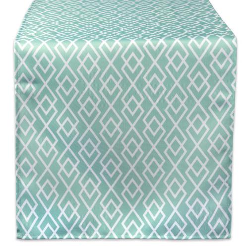 "72"" Aqua Blue and White Diamond Rectangular Outdoor Table Runner - IMAGE 1"