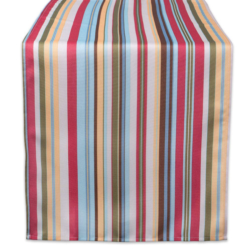 "72"" Blue and Red Summer Striped Rectangular Outdoor Table Runner - IMAGE 1"