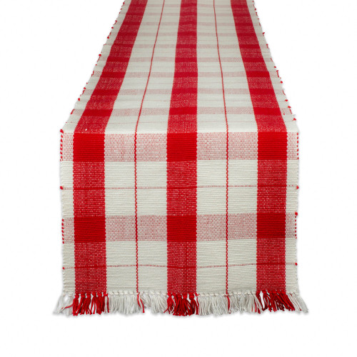 "72"" Red and White Plaid Rectangular Table Runner with Fringes - IMAGE 1"
