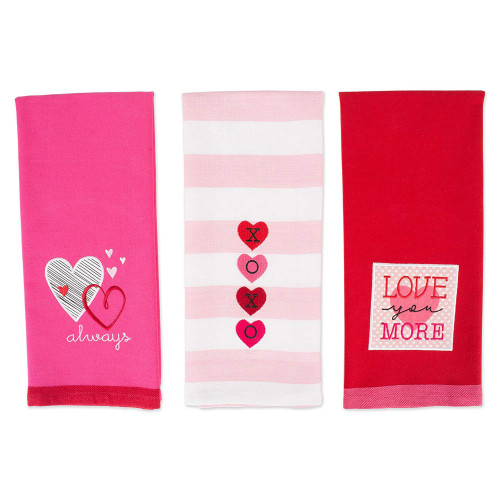 """Set of 3 Pink and Red Heart Embroidered Rectangular Dishtowels 28"""" - IMAGE 1"""