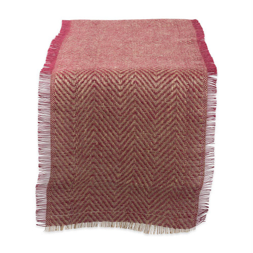 "72"" Red and Brown Chevron Printed Rectangular Table Runner - IMAGE 1"
