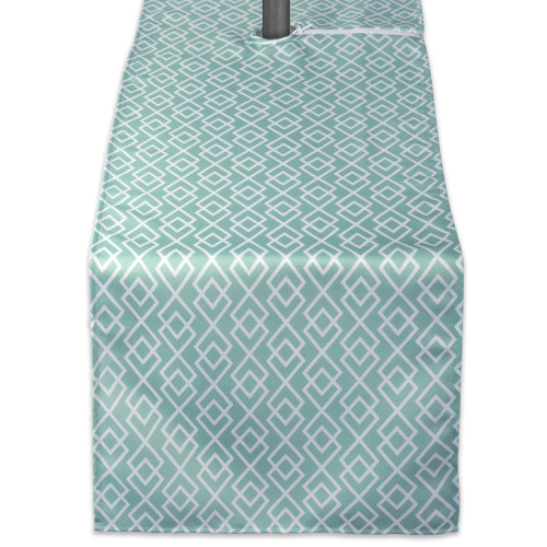 """72"""" Aqua Blue and White Diamond Rectangular Outdoor Table Runner with Zipper - IMAGE 1"""