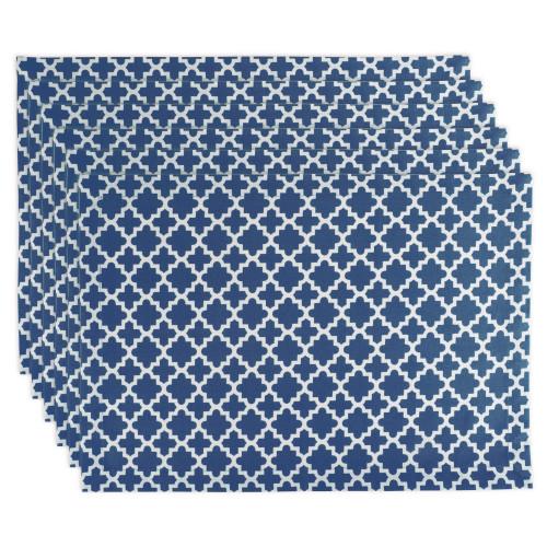 "Set of 6 Nautical Blue and White Rectangular Lattice Placemats 19"" - IMAGE 1"