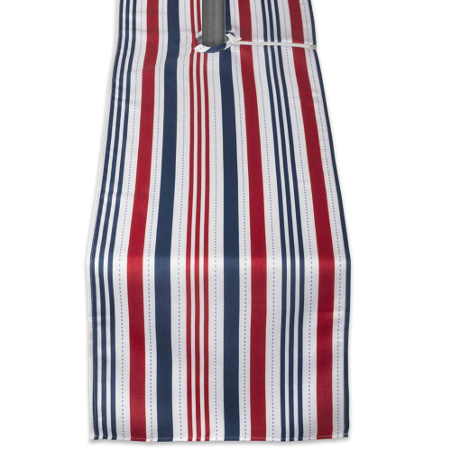 "72"" Red and Blue Patriotic Striped Outdoor Table Runner With Zipper - IMAGE 1"