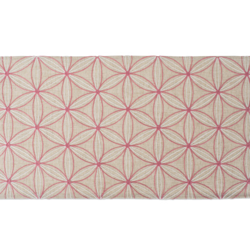 """70"""" Beige and Pink Floral Embroidered Table Runner - IMAGE 1"""