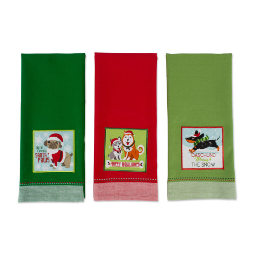 """Set of 3 Red and Green Pup Printed Rectangular Dishtowels 28"""" - IMAGE 1"""