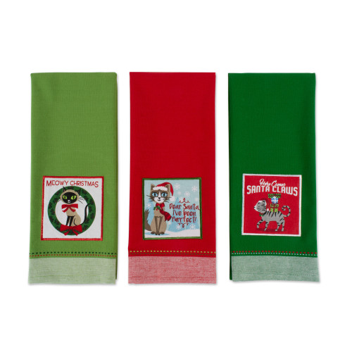 """Set of 3 Red and Green Kitty Printed Rectangular Dishtowels 28"""" - IMAGE 1"""
