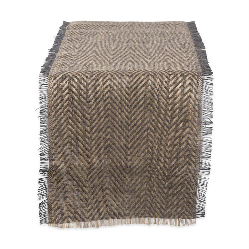 "72"" Gray and Brown Chevron Printed Rectangular Table Runner - IMAGE 1"