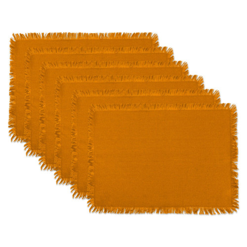 """Set of 6 Mustard Yellow Solid Heavyweight Fringed Placemats 19"""" - IMAGE 1"""
