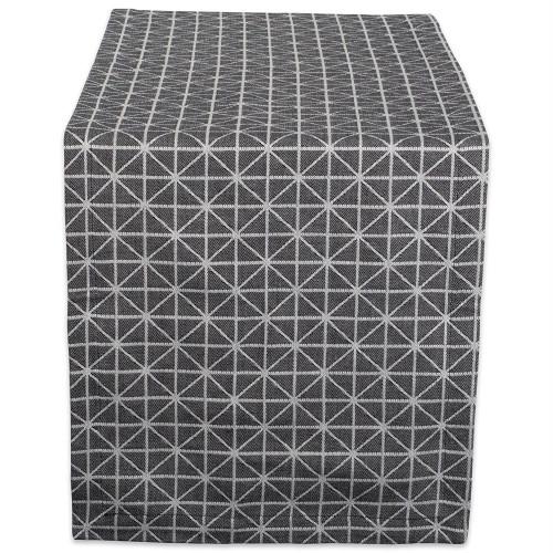 """72"""" White and Black Geometric Rectangular Table Runner - IMAGE 1"""