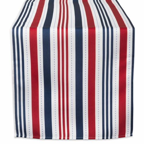 "108"" Red and Blue Patriotic Striped Rectangular Outdoor Table Runner - IMAGE 1"