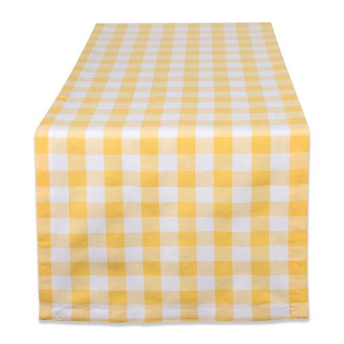"""72"""" Yellow and White Checkered Rectangular Table Runner - IMAGE 1"""