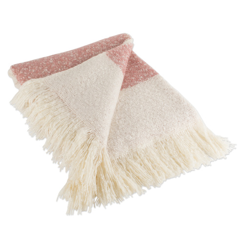 """Red and Beige Striped Fringed Throw Blanket 50"""" x 60"""" - IMAGE 1"""