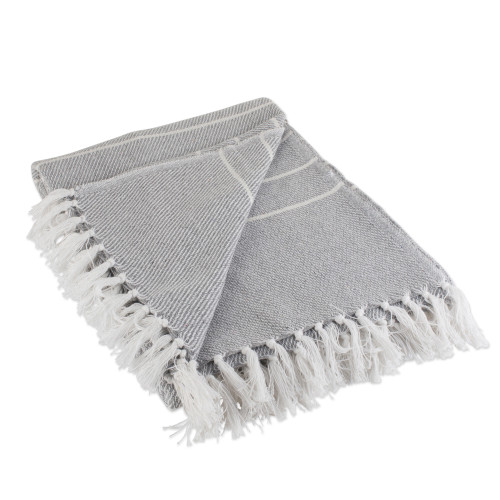 """Gray and White Striped Knitted Fringed Throw Blanket 50"""" x 60"""" - IMAGE 1"""