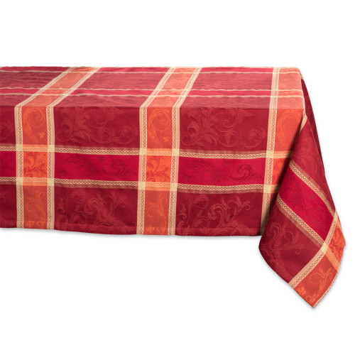 """120"""" Red and Orange Plaid Style Rectangular Tablecloth - IMAGE 1"""