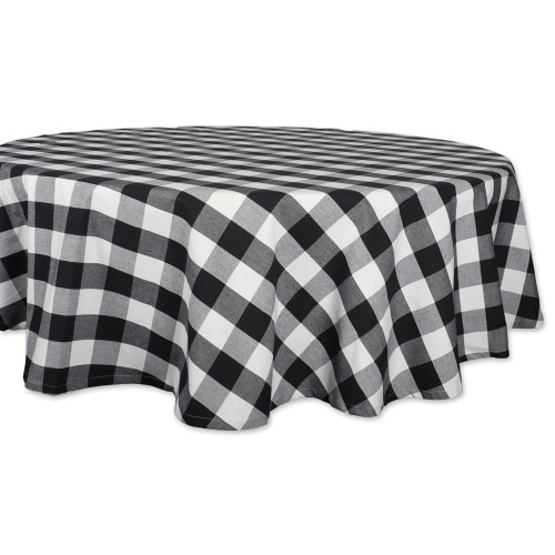 """Black and White Buffalo Checkered Designed Round Tablecloth 70"""" - IMAGE 1"""